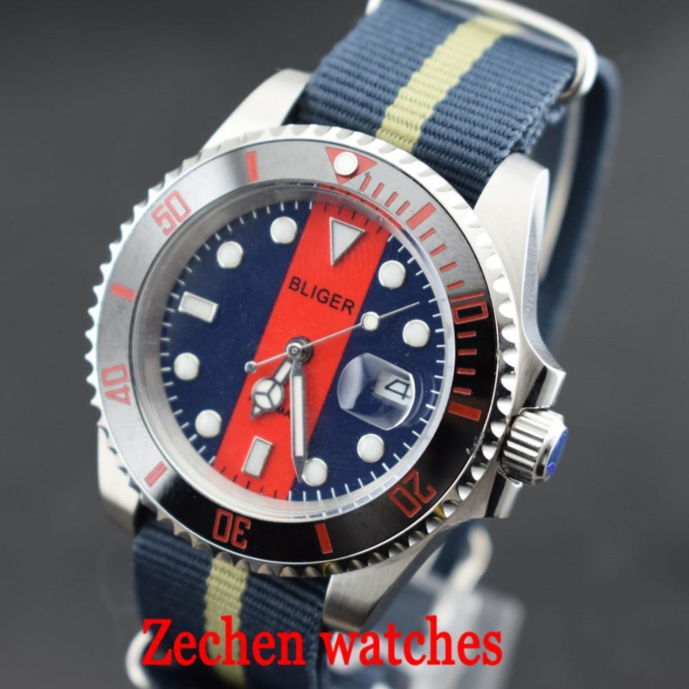 BLIGER 40mm Luminous hands Sapphire glass Automatic Nylon Straps Mens Watch Wristwatch цена и фото