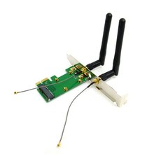 50pcs lots Mini PCI E to PCI E Express Wireless Card with Dual Antennas Network Internet