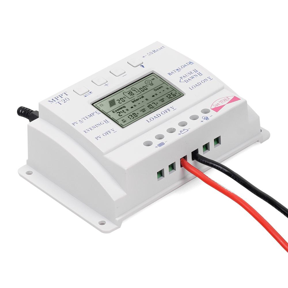 ФОТО LCD Display 20A 12V/24V MPPT Solar Panel Battery Regulator Charge Controller Three-time interval Charger Controller Regulator