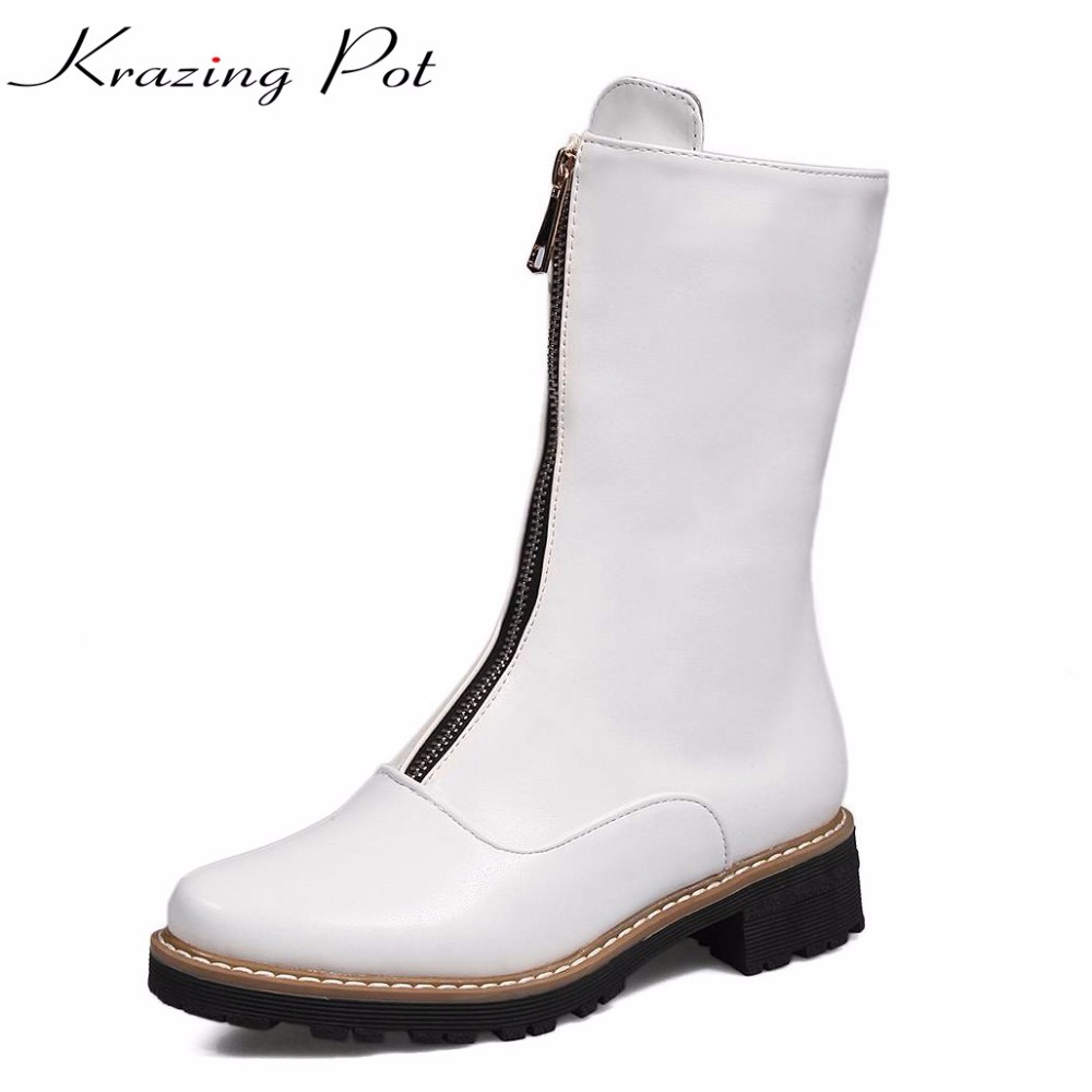 Krazing pot 2018 new PU leather high street fashion round toe zipper med heels winter boots fashion superstar mid-calf boots L16 riding boots chunky heels platform faux pu leather round toe mid calf boots fashion cross straps 2017 new hot woman shoes