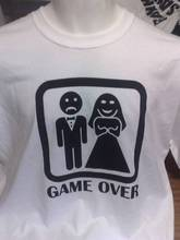 GAME OVER FUNNY WHITE T SHIRTS S TO 2XXL STAG DO ETC pesonalised back print New Shirts Funny Tops Tee Unisex