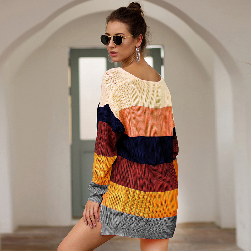 Striped Casual Knitted Pullover Sweaters Women O Collar Long Sleeved Sweater for Women Loose 2019 Autumn Sweaters in Pullovers from Women 39 s Clothing