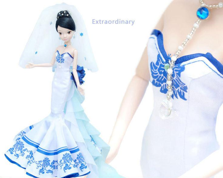 A0364 Best girl gift in box Kurhn Chinese Doll Spring Fairy Chinese Gift Traditional blue and white porcelain wedding dress