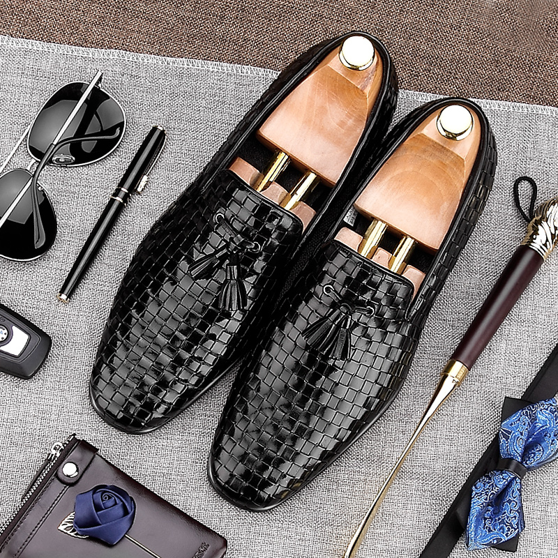 High Quality Round Toe Tassels Man Casual Shoes Genuine Leather Handmade Height Increasing Loafers Luxury Men's Flats MG03