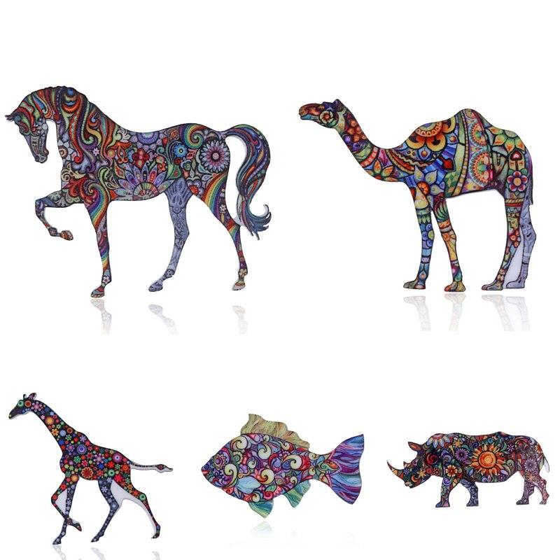 Lapel Pin Brooch Badge Jewelry Rhino Note Button-Pins Gift Camel Denim Fish-Horse-Sheep-Giraffe