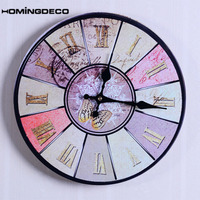 Homingdeco Round Mute Wall Clock Retro Style Household Office Livingroom Hanging Clock Home Wall Decor Unique