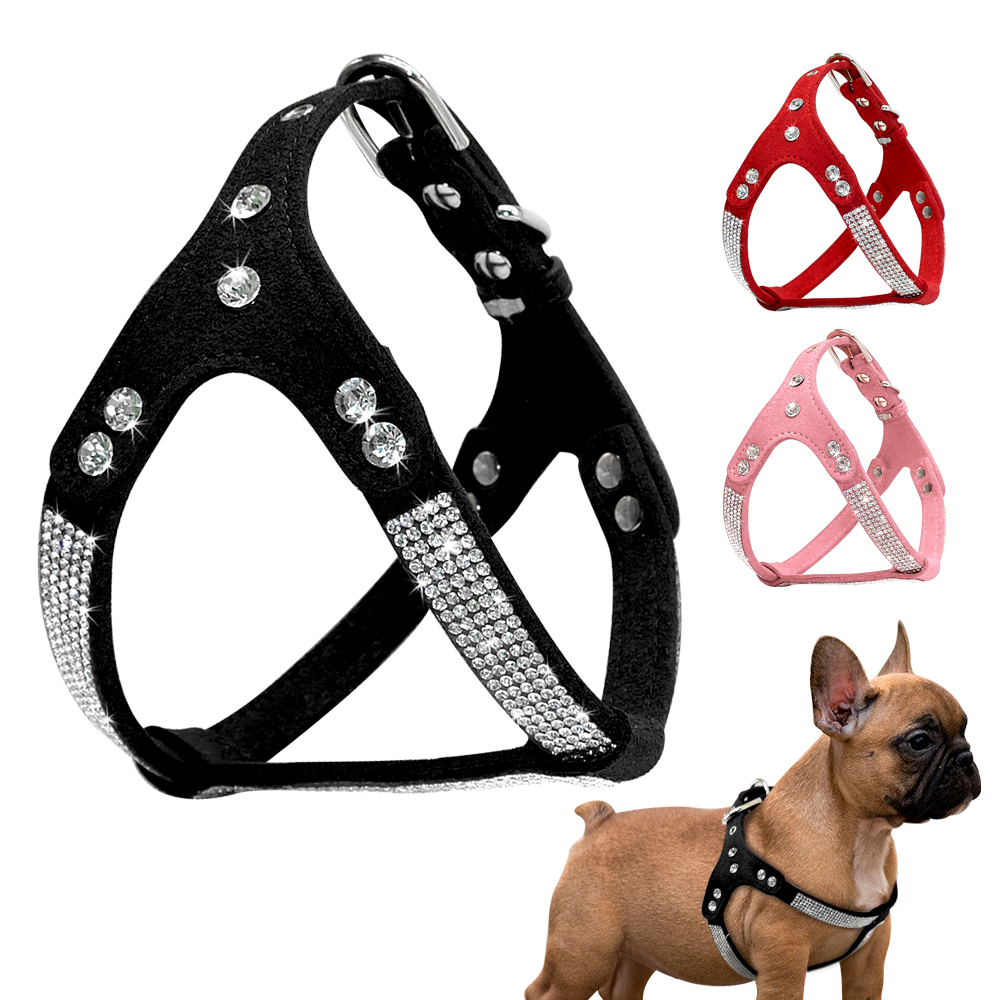 Rhinestone Puppy Harness   Suede     Leather   Small Dogs Harness Bling Crystal Cat Dog Vest Adjustable For Chuihuahua French Bulldog