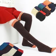 Марка Горячая ПРОДАЖА 2014 НОВЫЙ осень зима женщины гольфы бедро высокие носки чулки шерстяные контрастного цвета толстые теплые тонкий