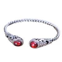 Solid 925 Sterling Silver Jewelry Women Cuff Bracelets Bangle Twist Wire Inlaid Red Garnet Vintage Flower Pattern