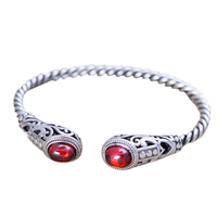 Solid 925 Sterling Silver Jewelry Women Cuff Bracelets Bangle Twist Wire Inlaid Red Garnet Vintage Flower Pattern