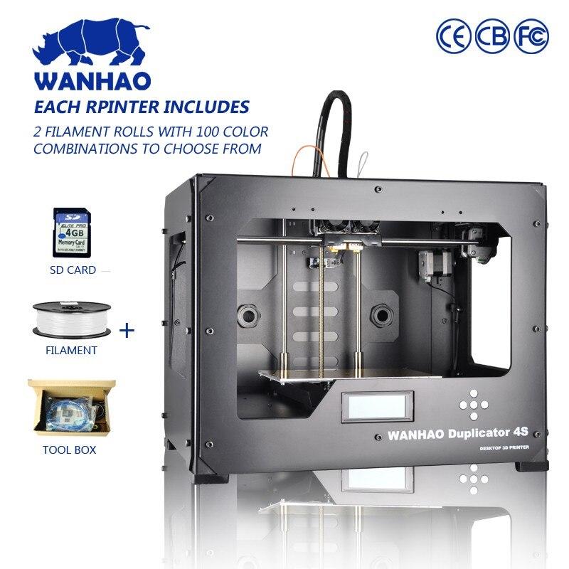 Double EXTRUDEUSE wanhao 3d imprimante avec 2 filaments libres Wanhao D4S, Wanhao Duplicateur 4, avec livraison SD carte