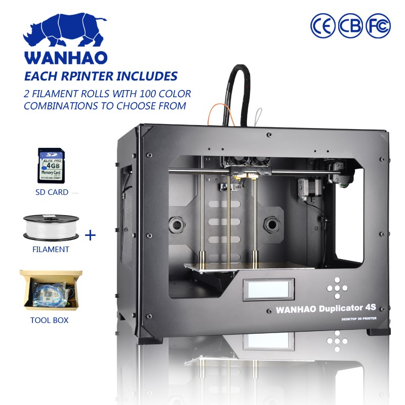 Dual EXTRUDER wanhao 3d printer with 2 free filaments Wanhao D4S, Wanhao Duplicator 4, with free SD card 2017 newest high quality qidi tech i dual extruder 3d printer with upgraded 7 8 version motherboard w 2 free abs pla filaments