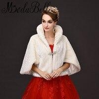 Modabelle bianco cappotto di pelliccia da sposa stola dello scialle di shrug nuziale prom bolero capo delle signore del partito di sera faux fur wedding wraps moda