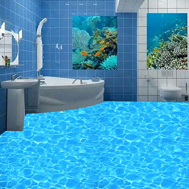Gut bekannt Nach 3D PVC Boden Tapete Blau Kristall Funkelnden Wasser Wandbild KF48