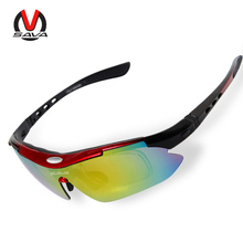 SAVA Polarized Cycling Sunglasses UV400 Sports Glasses With 5 Interchangeable Lenses for Riding Running Fishing Skiing