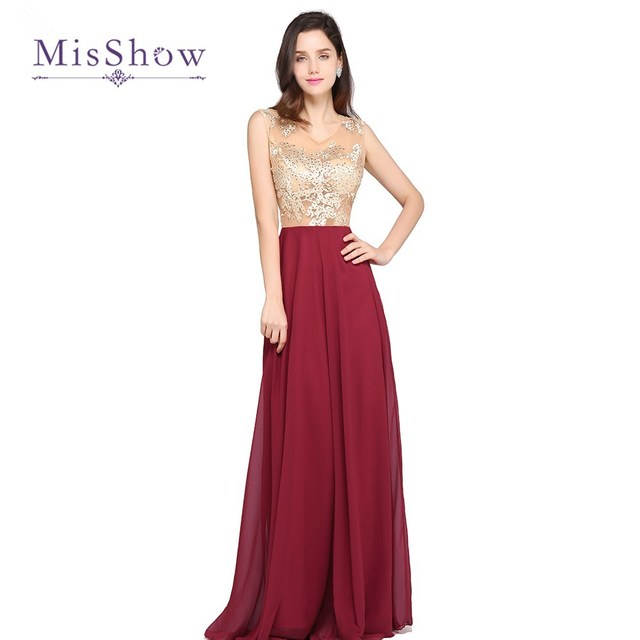 e2594bf1f8 MisShow New Arrival Elegant Burgundy Evening Dresses Long Chiffon Sexy  Sheer Appliques Party Evening Gowns Robe De Soiree