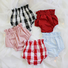 ФОТО 2016 summer baby girls clothing shorts infant toddler girls diper cover solid ruffled panties baby girl clothes baby bloomers