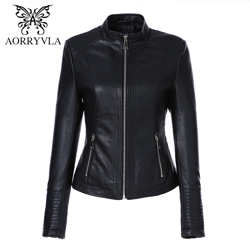 AORRYVLA Новая мода Искусственная кожа куртка для Для женщин осень 2017 короткие черные Цвет воротник-стойка Застёжки-молнии дамы Куртки пальто