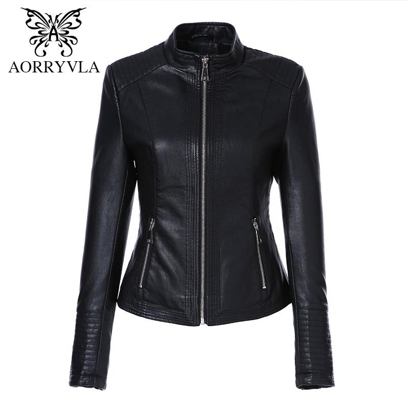 AORRYVLA Leather Jacket Women Spring 2020 Black Color Washed PU Leather Short Jacket Mandarin Collar Zippers Slim Ladies Coats