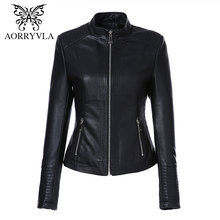 85547dc3e72 AORRYVLA Leather Jacket Women Spring 2019 Black Color Washed PU Leather  Short Jacket Mandarin Collar Zippers