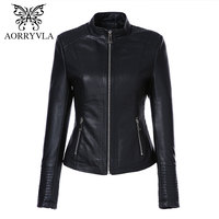 AORRYVLA Leather Jacket Women Spring 2019 Black Color Washed PU Leather Short Jacket Mandarin Collar Zippers Slim Ladies Coats