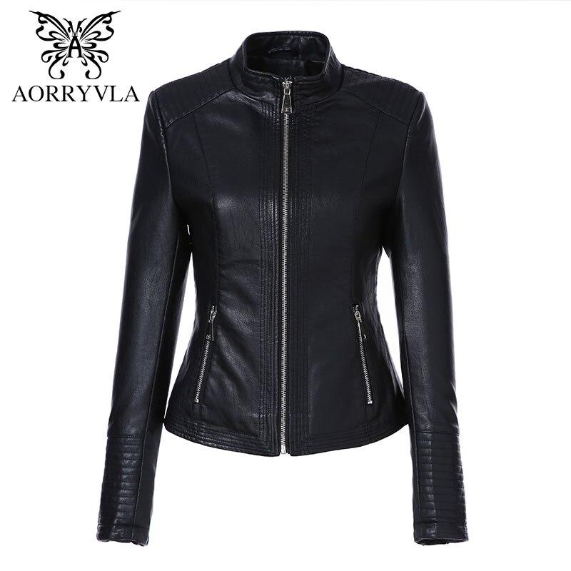 AORRYVLA veste en cuir femmes printemps 2019 couleur noire lavé PU cuir veste courte col Mandarin fermetures à glissière mince dames manteaux
