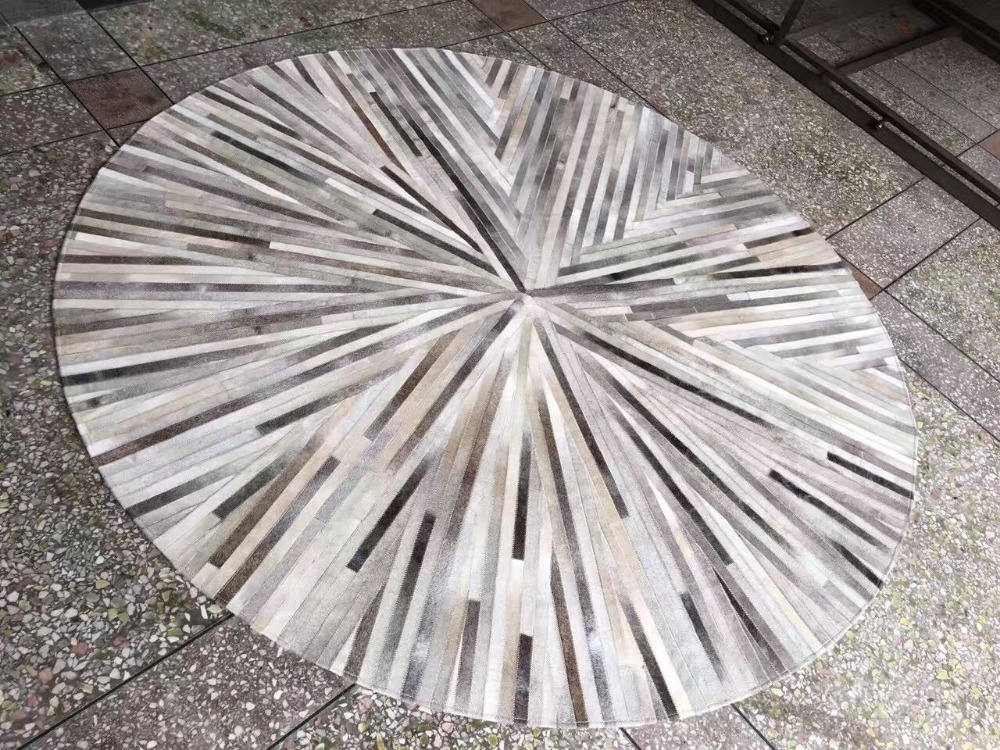 Striped Grey Patchwork Natural Cowhides Round Carpet Europe Style Model No. Rug Fur R766