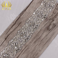 (1yard) 1 Yard Sliver Sewing on Crystal Beaded Iron On Pearl Applique Rhinestone Trim for Wedding Bridal Sash