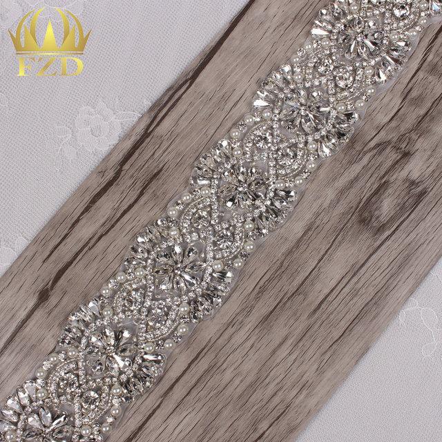 (1yard) 1 Yard Sliver Sewing on Crystal Beaded Iron On Pearl Applique  Rhinestone Trim for Wedding Bridal Sash 0cd3978c480e