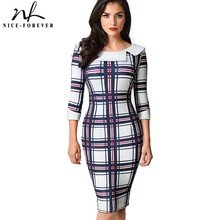 Nice-forever Vintage Geometric Print Wear to Work Turn-down Round neck vestidos Business Party Bodycon Women Office Dress B468