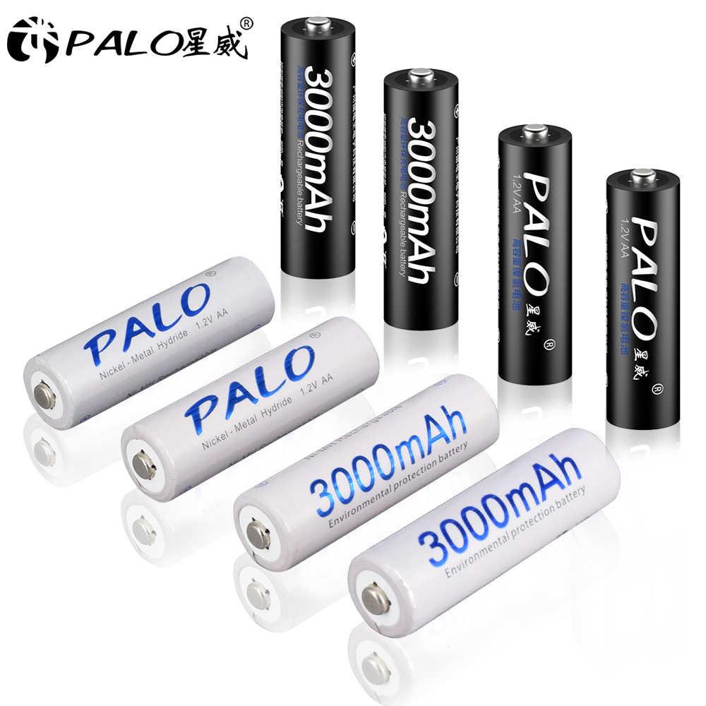 PALO 8 adet AA pil Ni-MH 3000mAh 1.2V 2A şarj edilebilir piller AA Bateria Baterias + 2 adet pil tutun kutuları