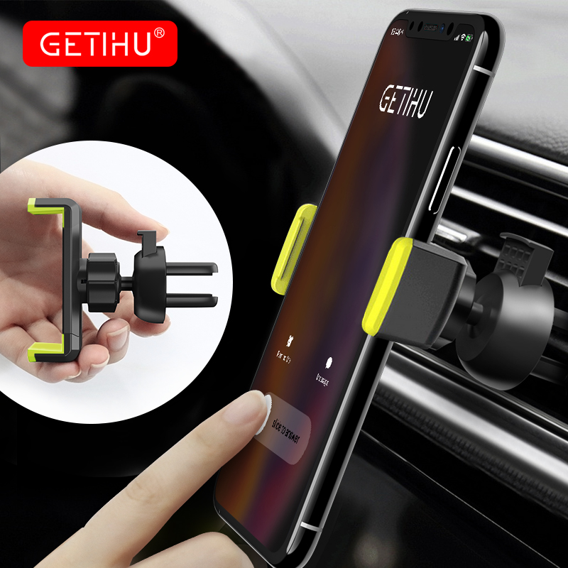 GETIHU Universal Car Phone Holder For IPhone XS MAX Samsung 360 Air Vent Clip Mount No Magnetic Mobile Support GPS Stand In Car