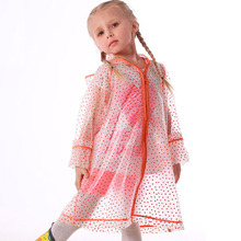 Yuding Children Semi-transparent Raincoat TPU Rain Coat Girls Kindergarten Poncho Touring Hooded Polka Dot Raincoats with Zipper