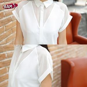 Image 5 - 2019 été Style Blouse femmes mode blanc en mousseline de soie élégante chemise femme travail porter bureau dames haut manches longues femmes vêtements