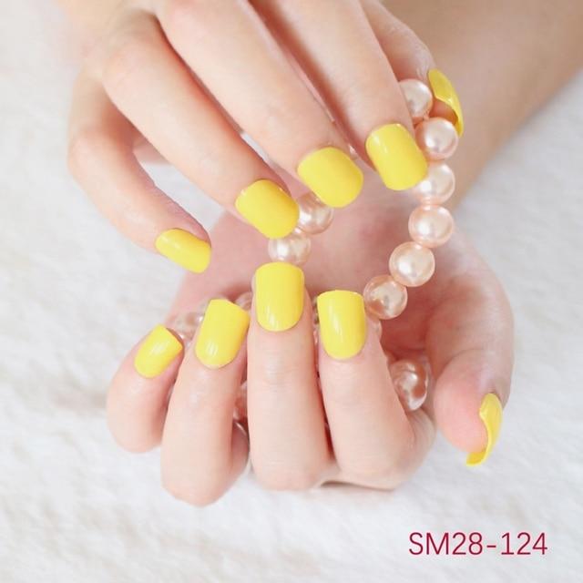 New Hot cute yellow high quality glossy short nails fake nail candy ...