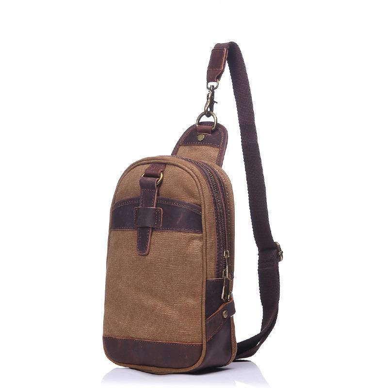 Hommes Vintage toile poitrine Pack classique IPAD Mini voyage poitrine sacs rétro loisirs sac à bandoulière avec peau de vache en cuir