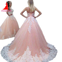 2017 Sweetheart Pink Quinceanera Dresses Ball Gown Tulle With White Lace Appliques Sweet 16 Dress Vestidos