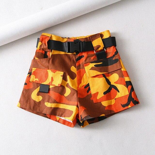 Summer cotton high waist shorts for women fashion belt shorts vintage sexy cargo shorts biker pocket shorts 2019 Korean version 4