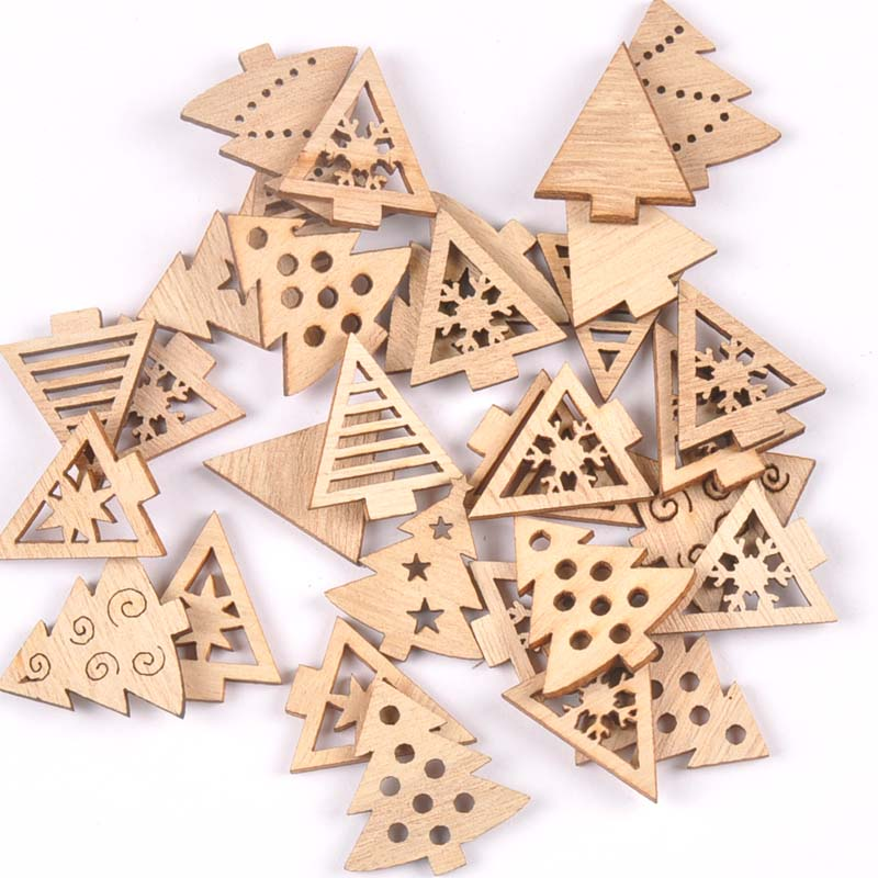 50pcs 22-30mm Natural Wood Crafts Christmas Trees DIY Scrapbooking For Wooden Ornament Home Decoration Sewing Accessories M2502