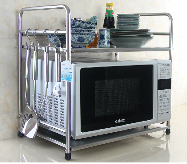 Double Layer Stainless Steel Microwave Shelf Storage Rack