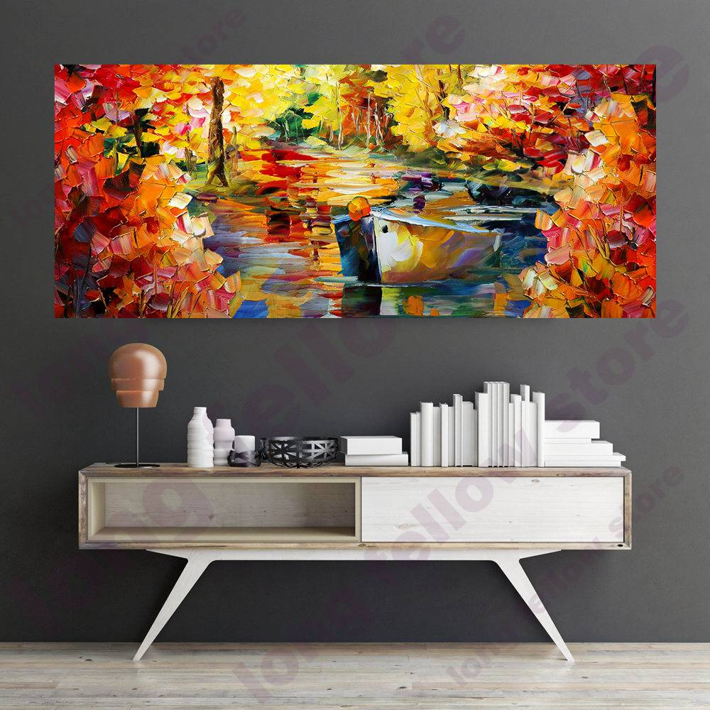 Handpaint <font><b>Knife</b></font> Painting Artwork The <font><b>Boat</b></font> on the Lake <font><b>Knife</b></font> Oil Canvas Painting for Home Decoration Handmade Room Lobby Wall Art image