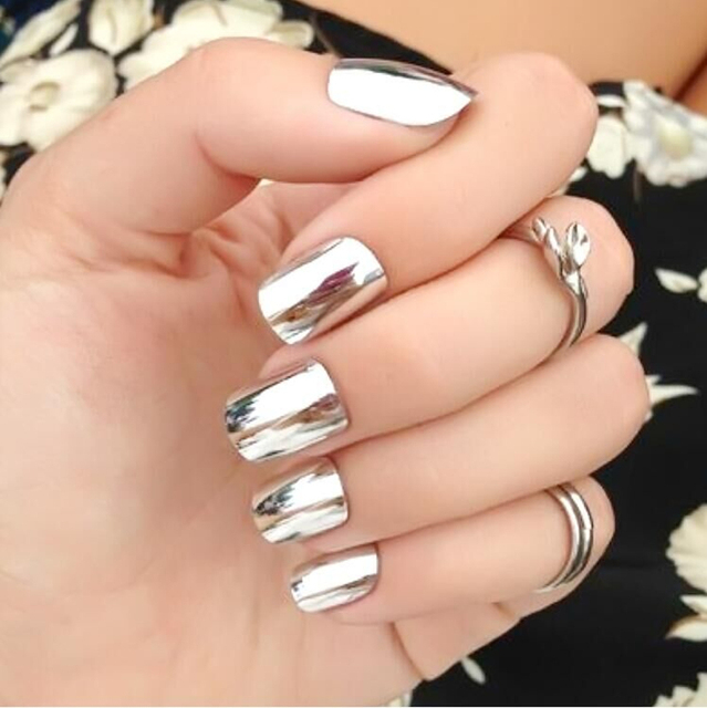 2016 Nail Stickers For Nails Beauty fashion Metal mirror Gold Nail ...