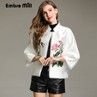 Women tops autumn royal embroidered vintage floral short coat Chinese style loose lady casual baseball jacket coat female S XXL