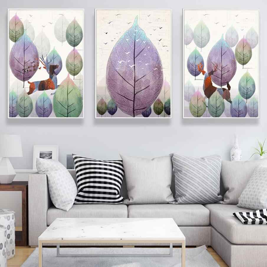 Fashion A4 Print Animal Pictures Abstract Color Leaf Deer Canvas Painting Modern Nordic Style Poster Wall Art For Kid Room Decor