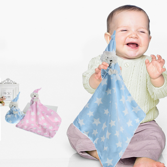 Baby Security Blanket with Plush Teddy Doll Baby Saliva Towel Multifunctional Newborn Kids Cotton Sleeping Toys New Baby Stuff