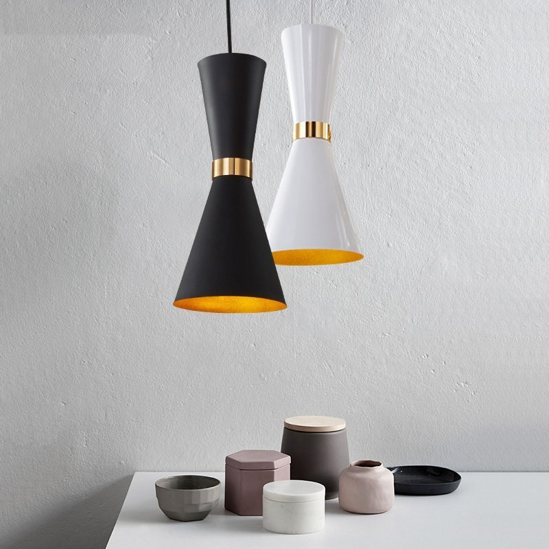 Modern Cafe Bar Cord Pendant Light Fixtures Bathroom Aluminum Shade Suspension Lamp Mirror Led Dining Room Black Pendant Light