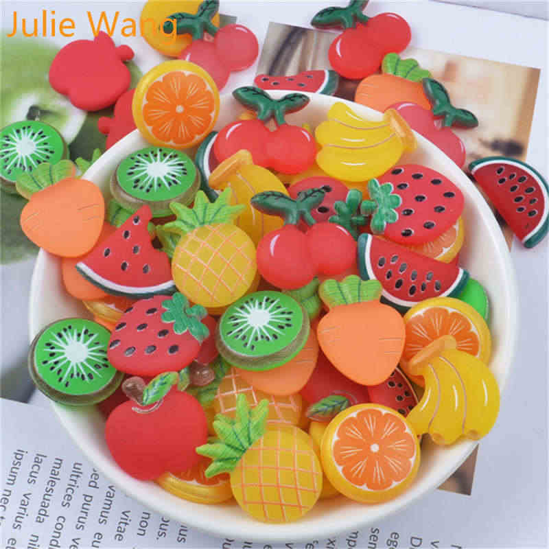 Julie Wang 10PCS Resin Fruit Apple Cherry Orange Banana Charms Slime Pendants Jewelry Making Accessory Home Phone Case Decor