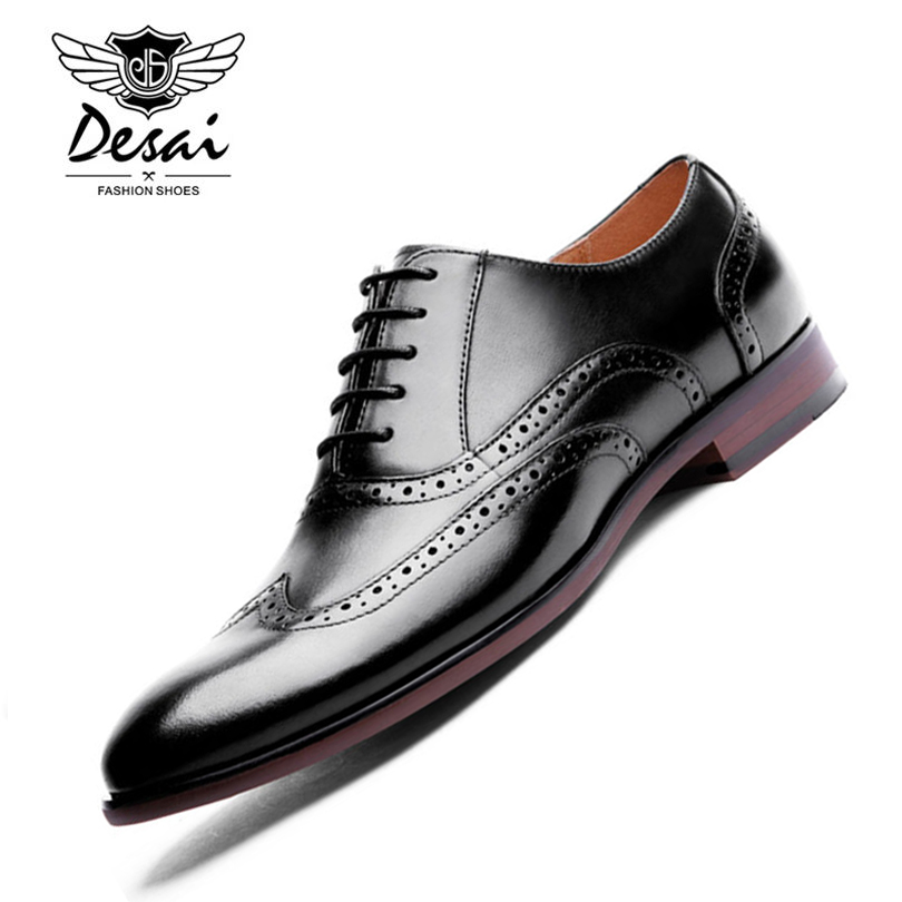 DESAI Brand Full Grain Leather Men's Oxford Shoes Retro Carved Brogue Shoes Men Formal Business Dress Shoes Large Size 44-47