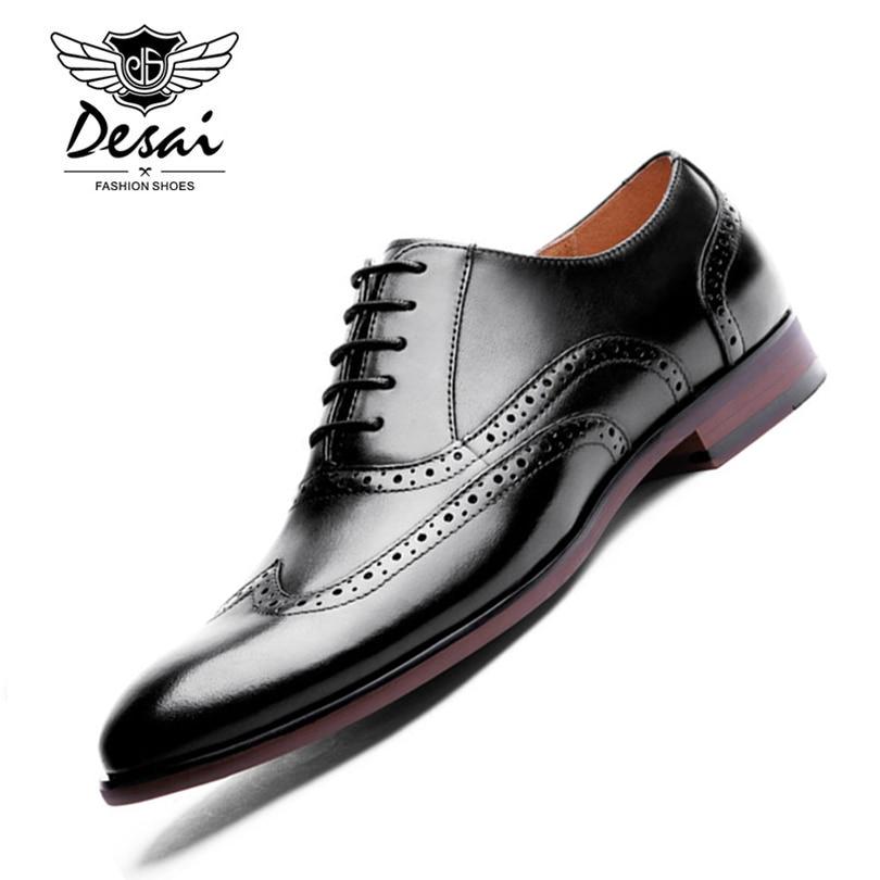 Ayakk.'ten Oksford'de DESAI Marka Tam Tahıl Deri erkek Oxford Ayakkabı Retro Oyma Brogue Ayakkabı Erkekler Resmi Iş Elbise Ayakkabı Büyük Boy 44 47'da  Grup 1