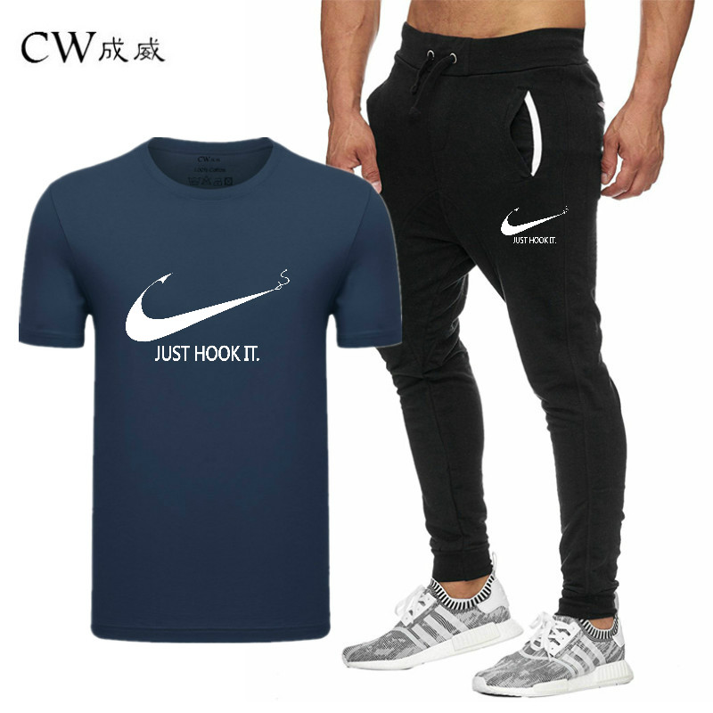 HTB1e8mNVyLaK1RjSZFxq6ymPFXaq 2019 Quality Men T Shirt Sets+pants men Brand clothing Two piece suit tracksuit Fashion Casual Tshirts Gyms Workout Fitness Sets